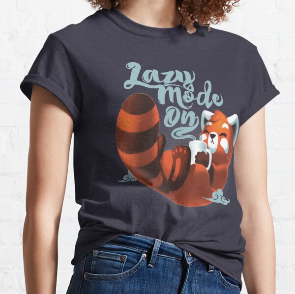 Lazy mode ON - Cute Red Panda - Fluffy Coffe Animal Classic T-Shirt