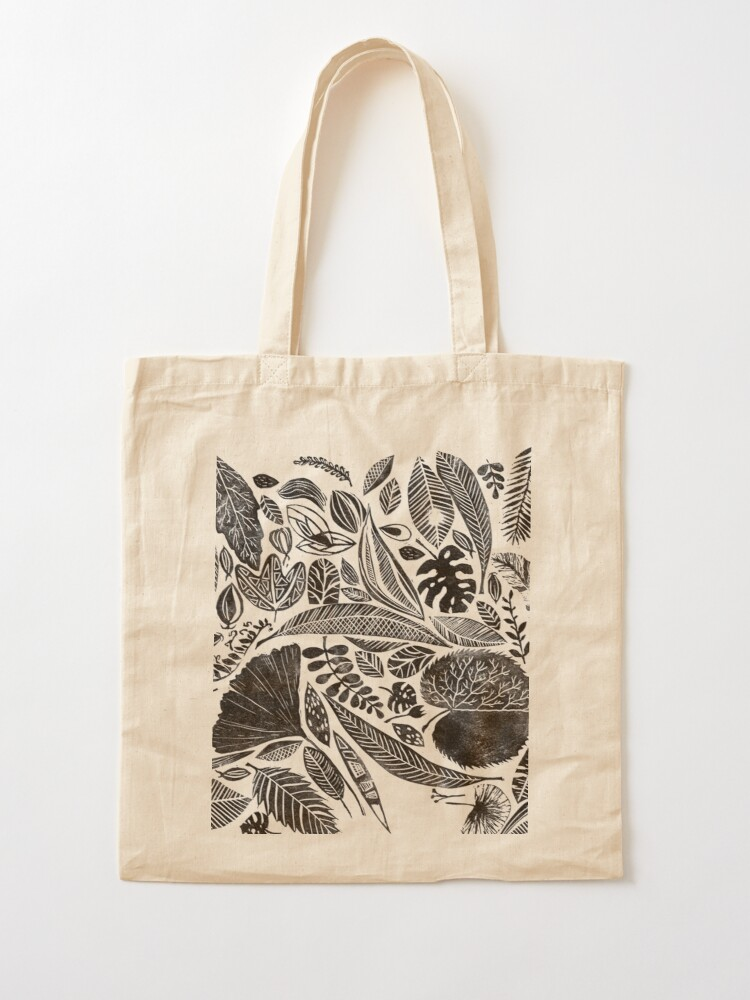 Alternate view of Mixed leaves, Lino cut printed nature inspired hand printed pattern Tote Bag