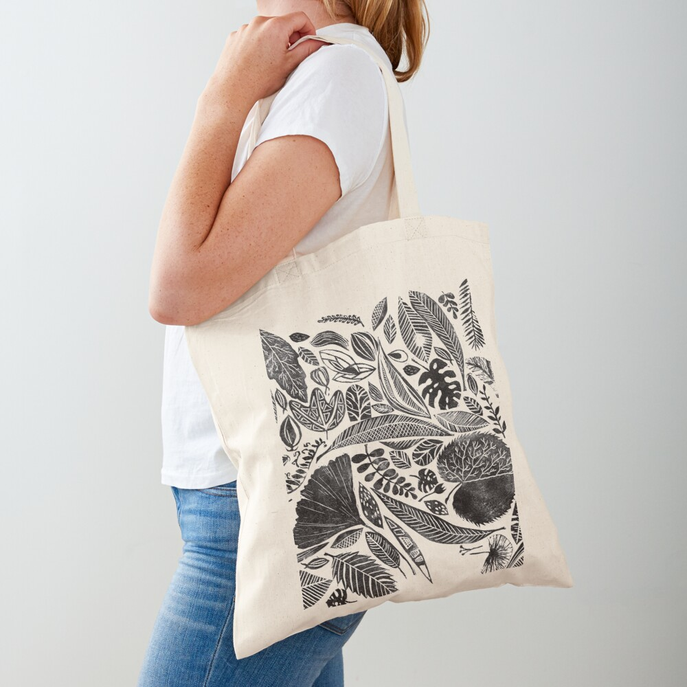 Mixed leaves, Lino cut printed nature inspired hand printed pattern Tote Bag