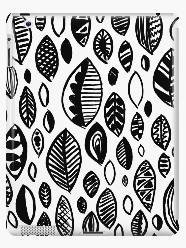 Hand Drawn Leaf Pattern Nature Inspired Handmade Drawing Painting Leaves Black And White Ipad Case Skin By Emporiumjulium Redbubble