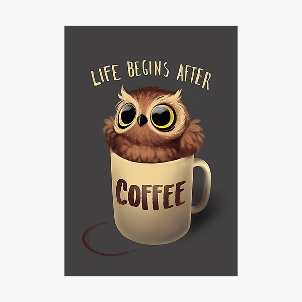 Night Owl Coffee - Cute Bird - Life Begins after Coffee Photographic Print
