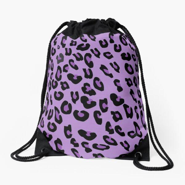 Purple Cheetah Pattern Drawstring Bag
