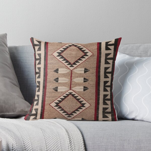 NAVAJO 1925 ART WITH FEATHERS SCAN HIGH RES - ORIGINAL WORTH OVER $20,000 Throw Pillow