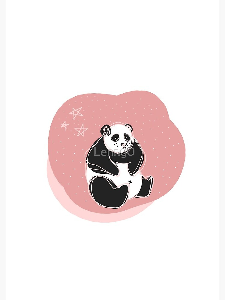 Pink Scribble Panda with Stars by Lenny0