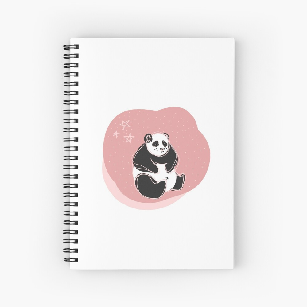 Pink Scribble Panda with Stars Spiral Notebook