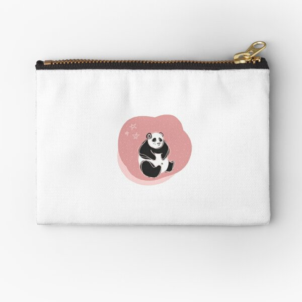 Pink Scribble Panda with Stars Zipper Pouch