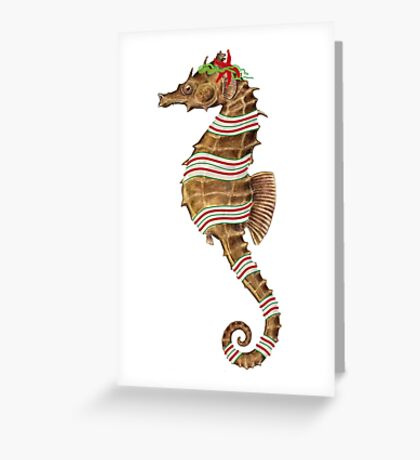 Seahorse Candy Stripe Greeting Card