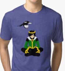 A boy and his magpie (cowl off) Tri-blend T-Shirt