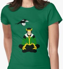A boy and his magpie (cowl on) Womens Fitted T-Shirt
