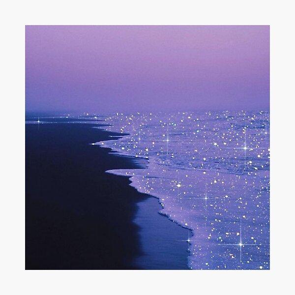 sparkly ocean purple sky aesthetic Photographic Print