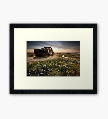 Barge Past Framed Print