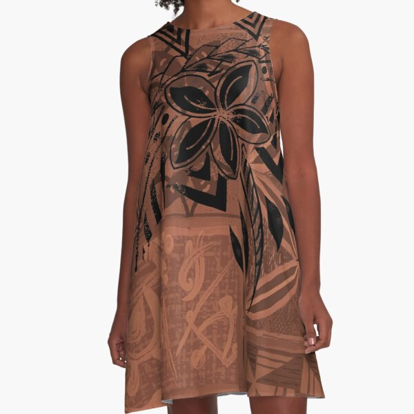Vintage Hawaiian Tribal Petrogyph Pattern A-Line Dress