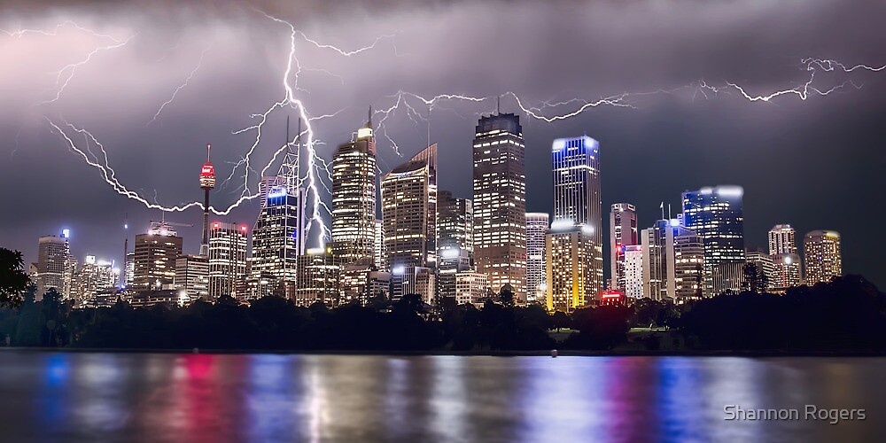 Lightning Over Sydney City by Shannon Rogers