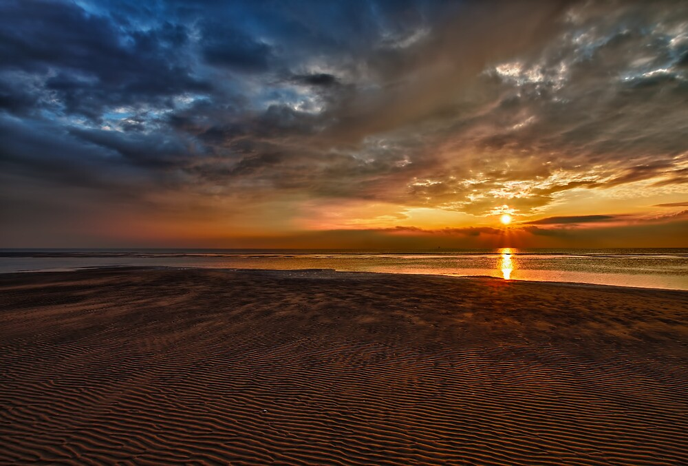Sunset Over Ainsdale Beach by Roger Green