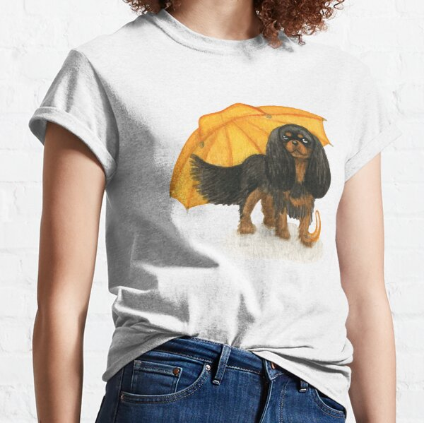 Cavalier King Charles Spaniel - Yellow Umbrella Black and Tan Classic T-Shirt