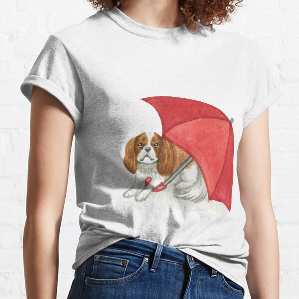 Cavalier King Charles Spaniel - Red Umbrella Blenheim Classic T-Shirt