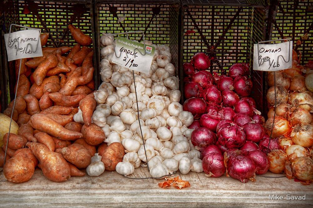 Food - Vegetable - Sweet potatoes, Garlin, and Onions, Yum  by Michael Savad