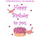 Little bird Happy Birthday card by Dawnsky2