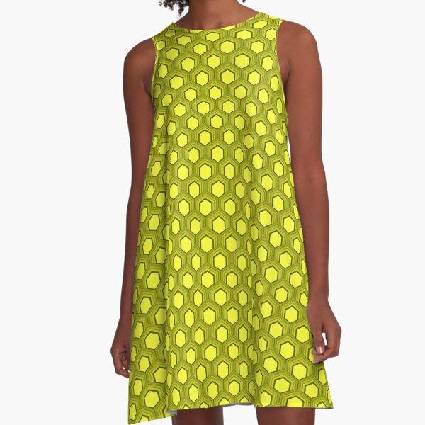 Fischschuppenmuster 70er Jahre Farben Gelb A-Linien Kleid