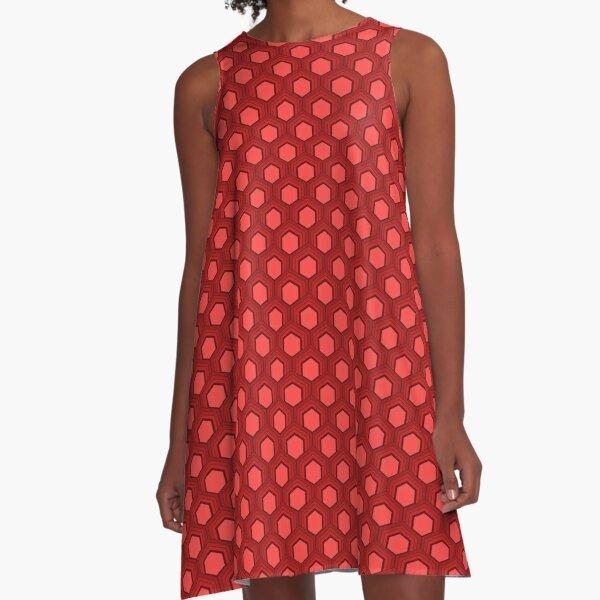 Fischschuppenmuster 70er Jahre Farben Rot A-Linien Kleid