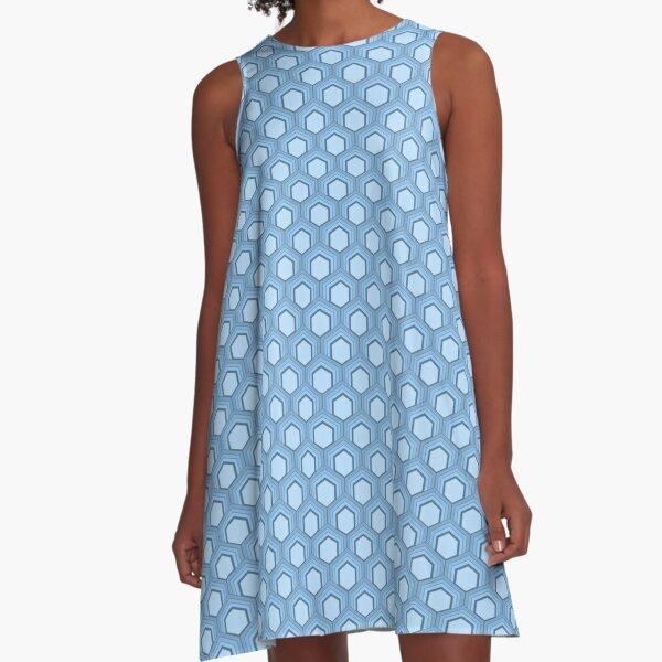 Fischschuppenmuster 70er Jahre Farben Hellblau A-Linien Kleid