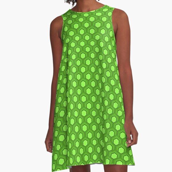 Fischschuppenmuster 70er Jahre Farben Hellgrün A-Linien Kleid