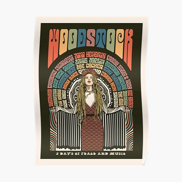Ilustración del cartel del festival de Woodstock Póster