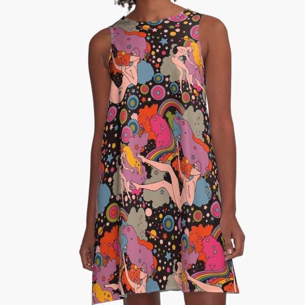 Space Girls black backround A-Line Dress