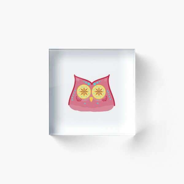 Colorful Abstract Pattern Owl Acrylic Block