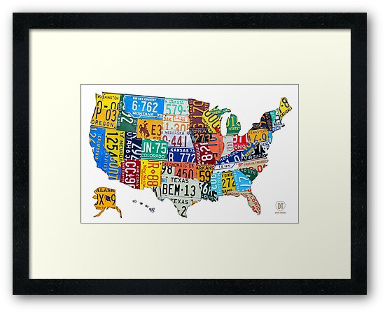 License Plate Map of The United States 2012 Edition 3 on White by designturnpike