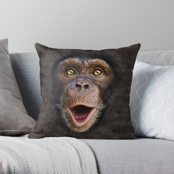 Cute Animal Happy Chimp- Monkey Face Gift Throw Pillow