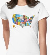 License Plate Map of The United States 2012 Edition 3 on White Women's Fitted T-Shirt