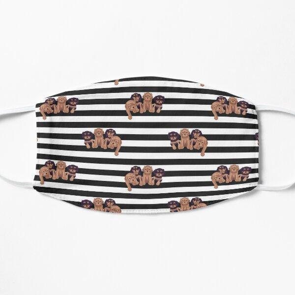 Cavalier King Charles Spaniels on Black and White Stripes Mask