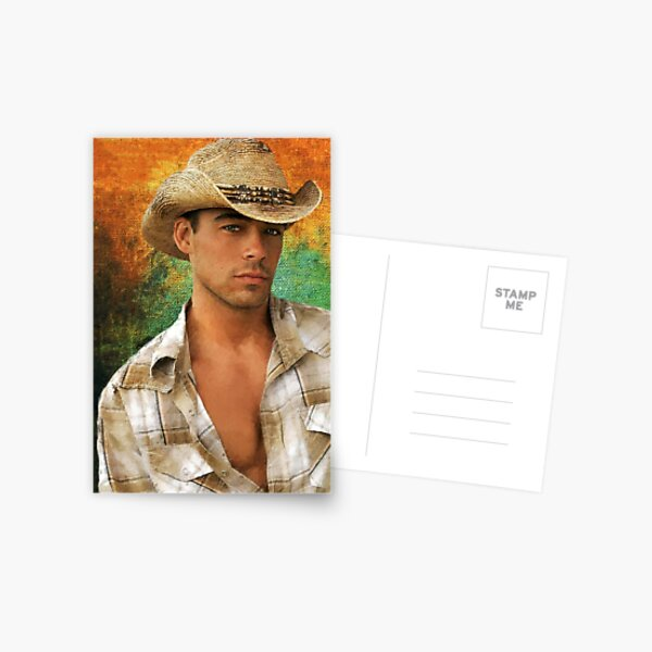 Valenciana: A stunning collage portrait of a handsome male Cowboy set against a multi coloured textured background  Postcard