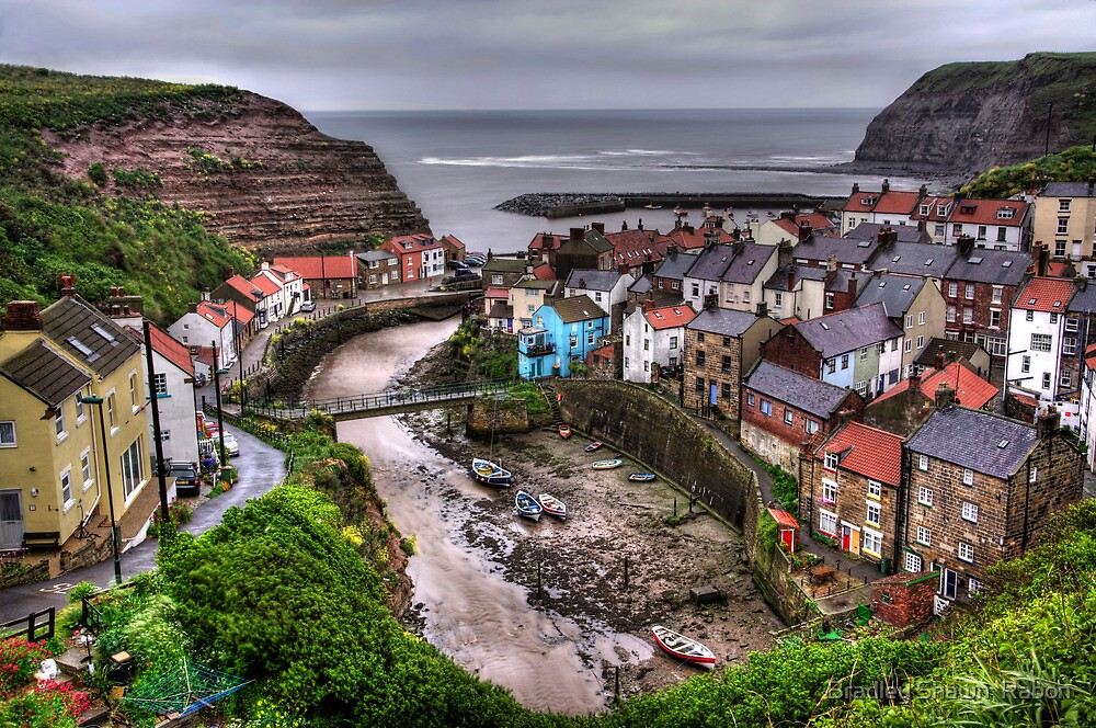 """""""Raining over Staithes, North Yorkshire"""" by Bradley Shawn  Rabon"""