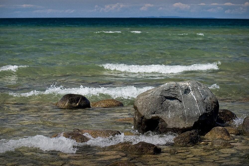 Rocks and Waves on Lake Michigan by Randall Nyhof