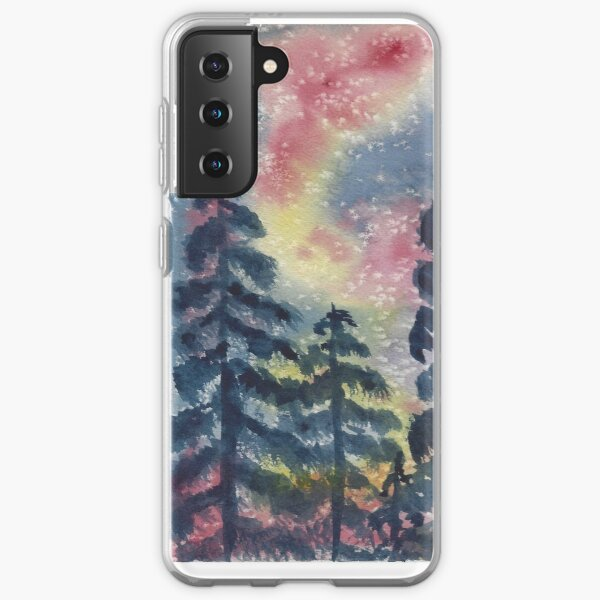 The Aurora Borealis and the Pines  Samsung Galaxy Soft Case