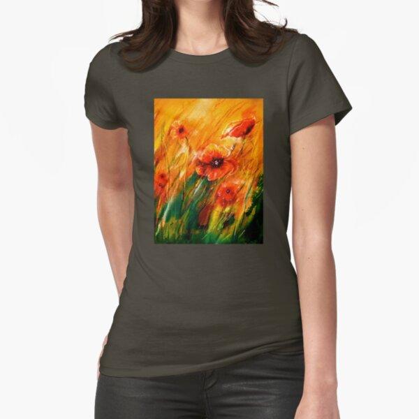 Flowers...Poppy Fields Fitted T-Shirt