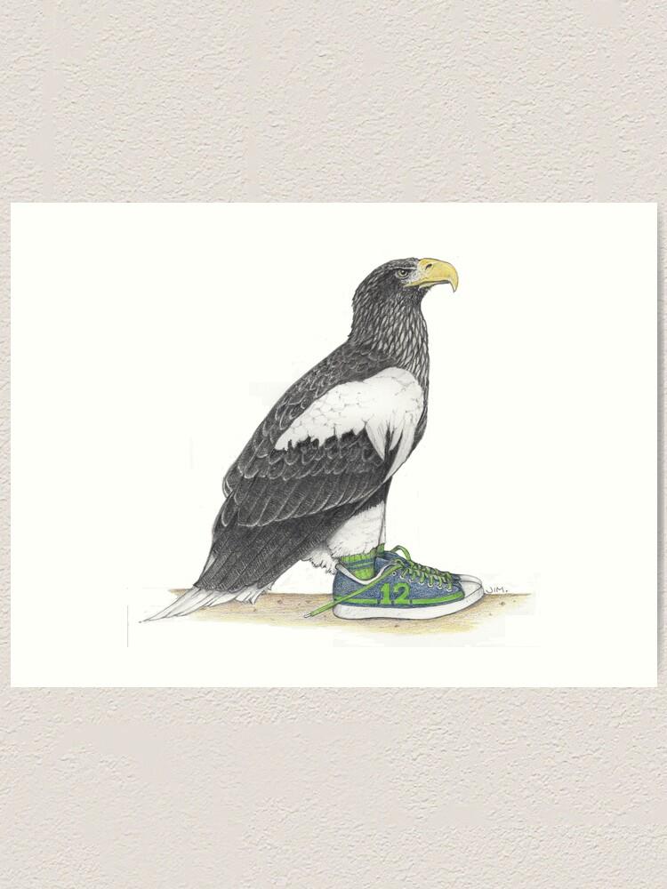 Alternate view of Seahawk in fan shoes Art Print