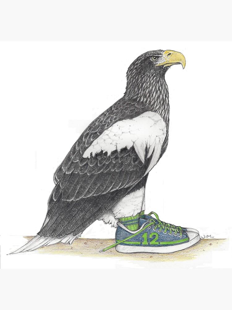 Seahawk in fan shoes by JimsBirds