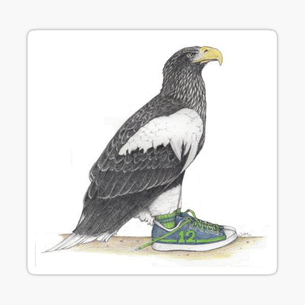Seahawk in fan shoes Sticker