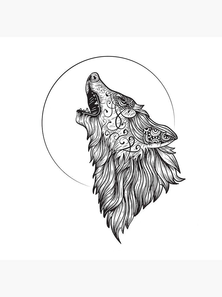 Wolf Howling At The Moon Drawing Art Board Print By Customartcreat Redbubble