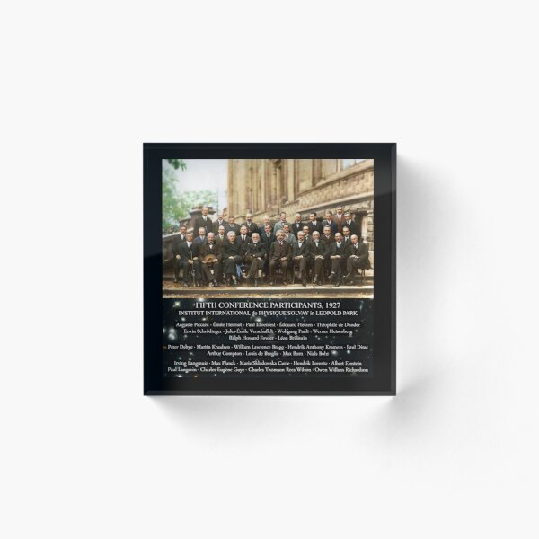 1927 Solvay Conference (spacetime bg), posters, prints Acrylic Block