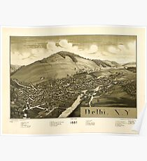Panoramic Maps Delhi NY 1887 Poster