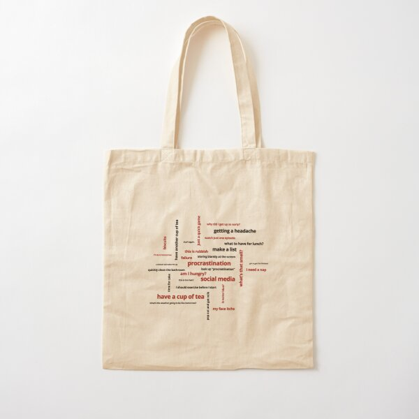 Procrastination Word Cloud Cotton Tote Bag