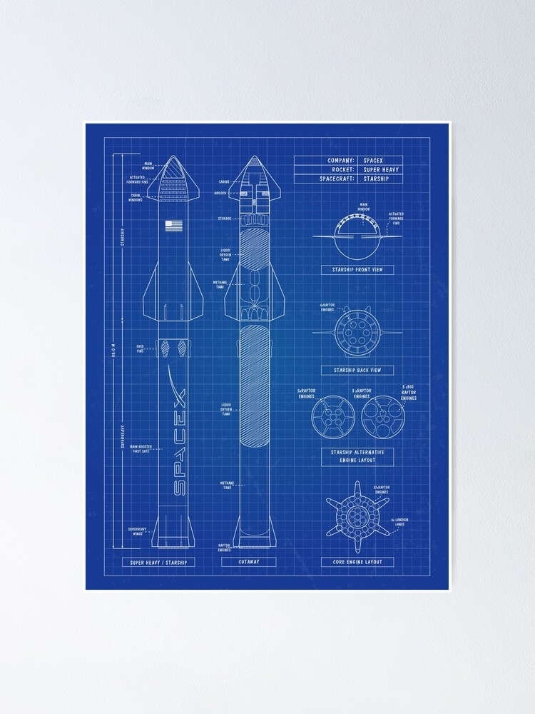 Alternate view of SpaceX: Super Heavy & Starship Blueprint - English. Vertical Version Poster