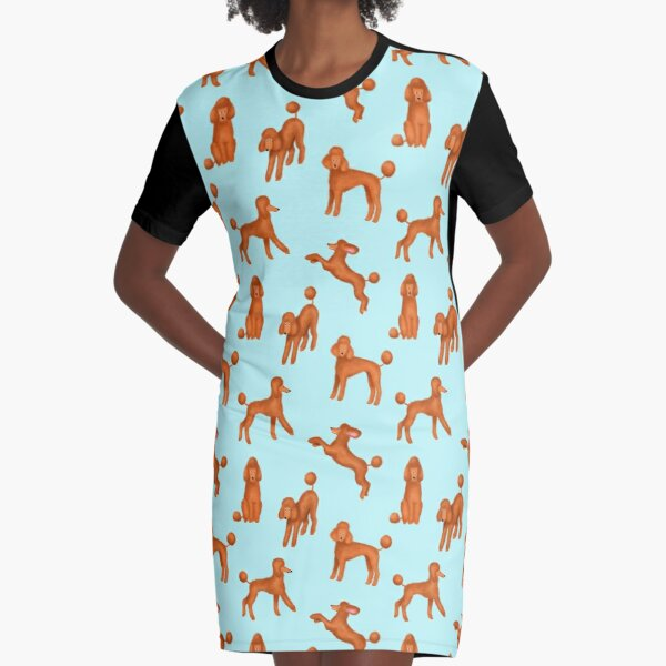 Red Poodles Pattern (Light Blue Background) Graphic T-Shirt Dress
