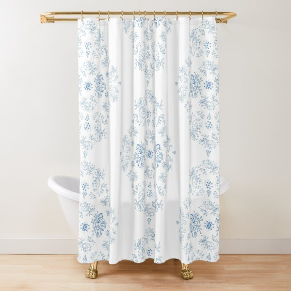 Blue Toile Pattern Shower Curtain