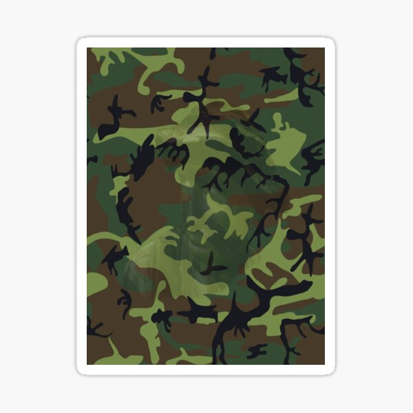 Woodland Green Camouflage with Hidden Face, RBSSG Sticker