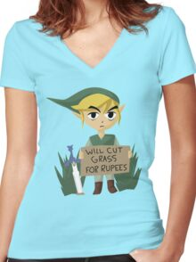 Looking For Work Women's Fitted V-Neck T-Shirt
